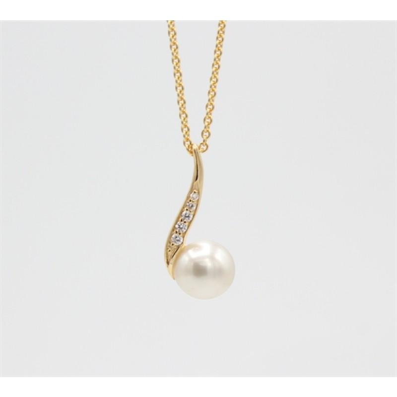 Pearl 14 kt halskæde, snoet