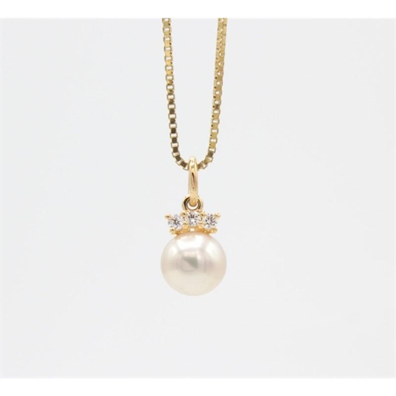 Pearl 14 kt halskæde, brillanter.