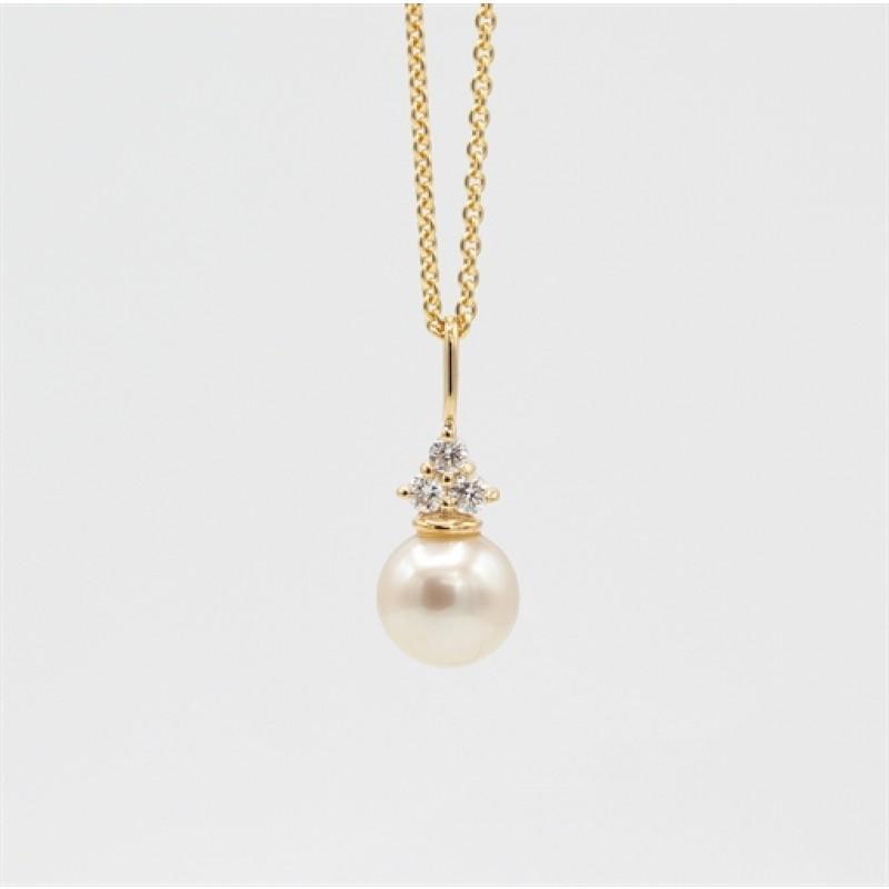 Pearl 14 kt halskæde, trekant