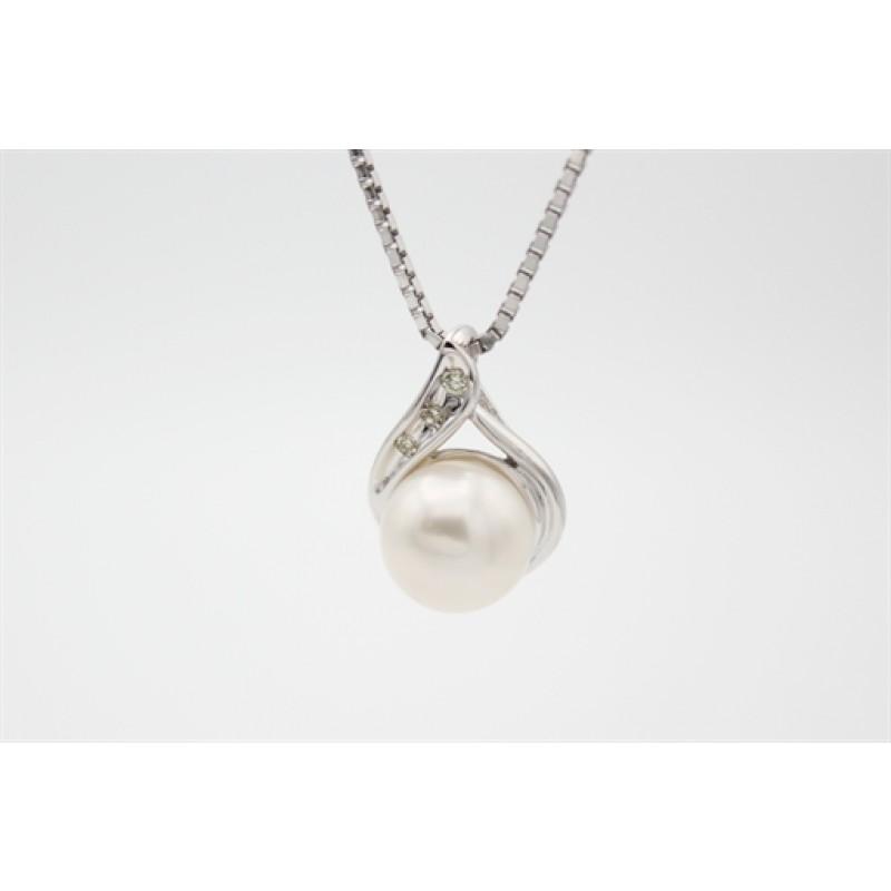 Pearl 8 kt halskæde, hvidguld