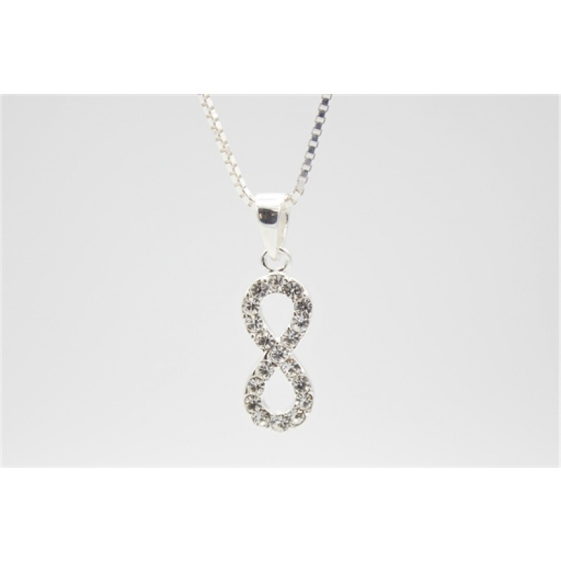 Uendelighedstegn halskæde, sølv m. zirk.
