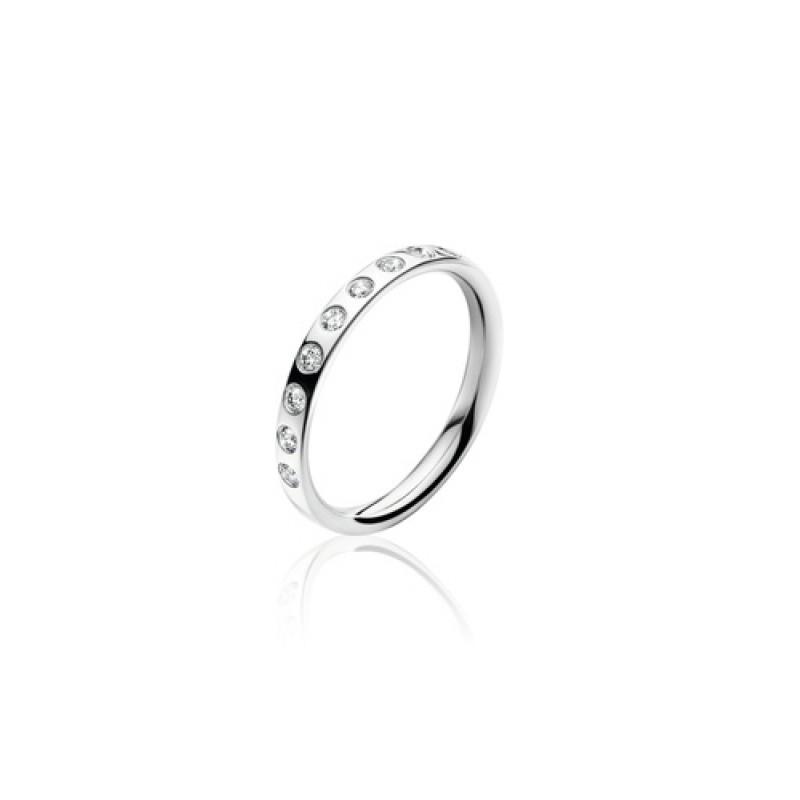 MAGIC ring midt hvidguld med 9 diamanter