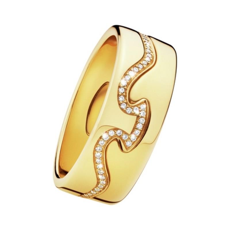 FUSION ring endestykke rødguld diamantkant