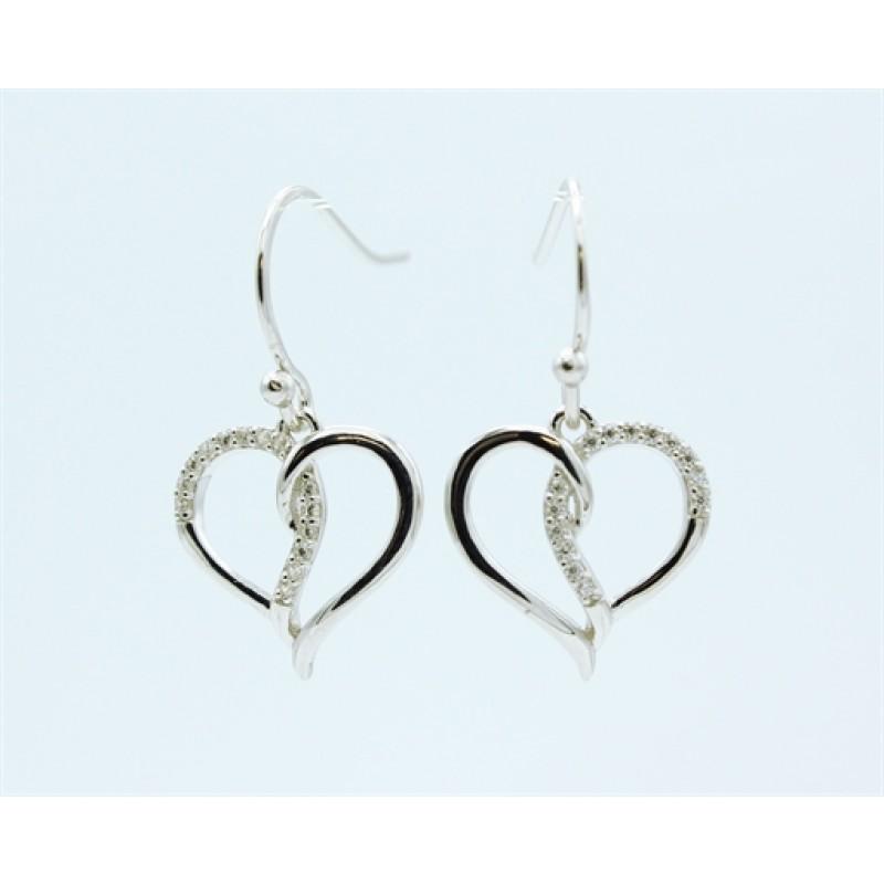 Hearts ørehængere, sølv