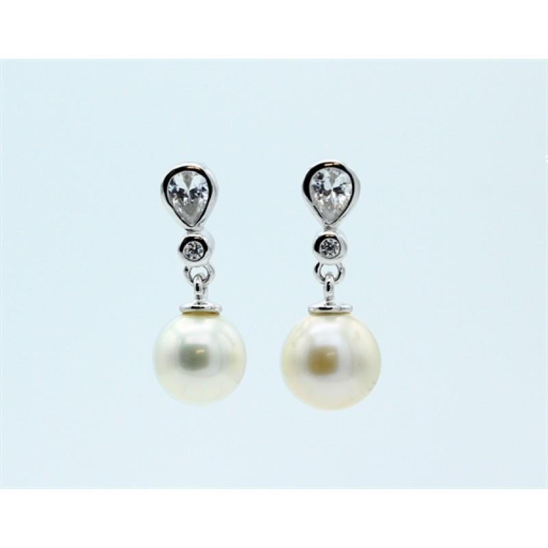 Pearl ørehængere, sølv