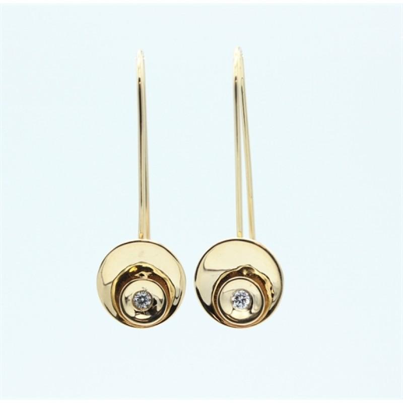Circle Diamond 14 kt øreringe