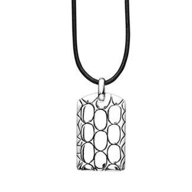sølv plade på lædersnor