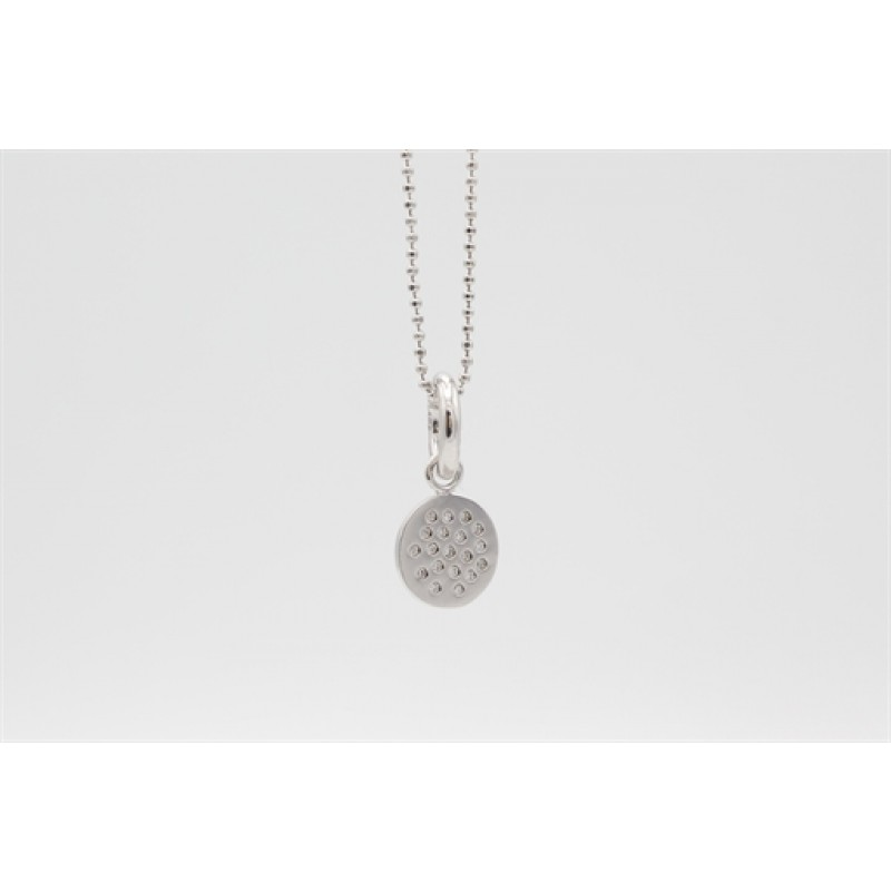 Cirkel med zirkoner, halskæde i sølv