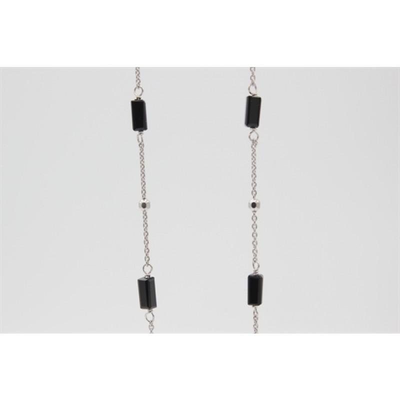 Lang sølv halskæde med onyx