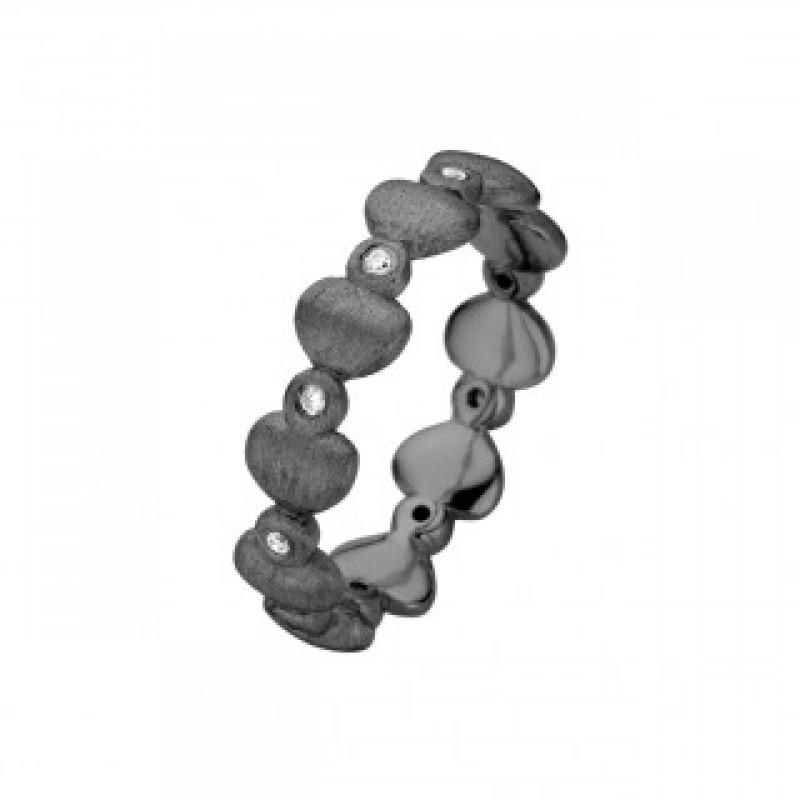 Love ring, sort rhodineret
