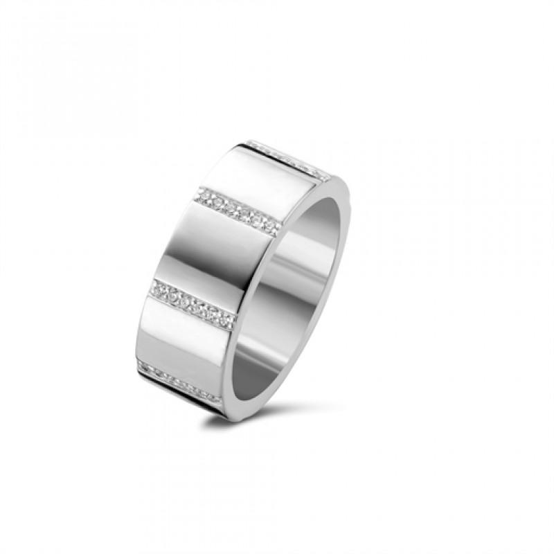 Stripes ring, sølv