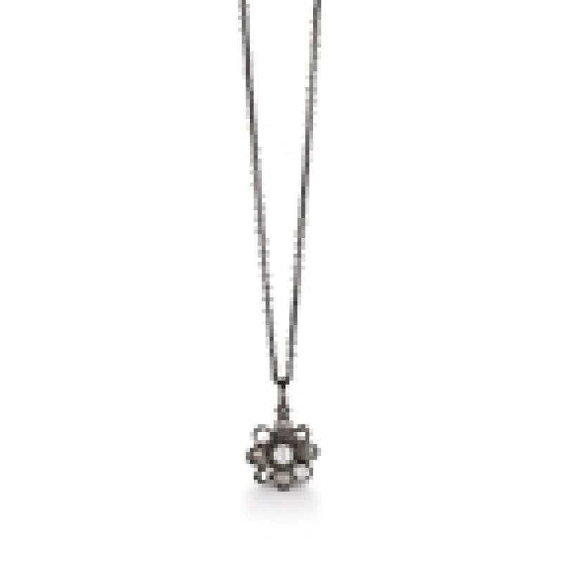Sort rhodineret halskæde med blomst, Kranz og Ziegler