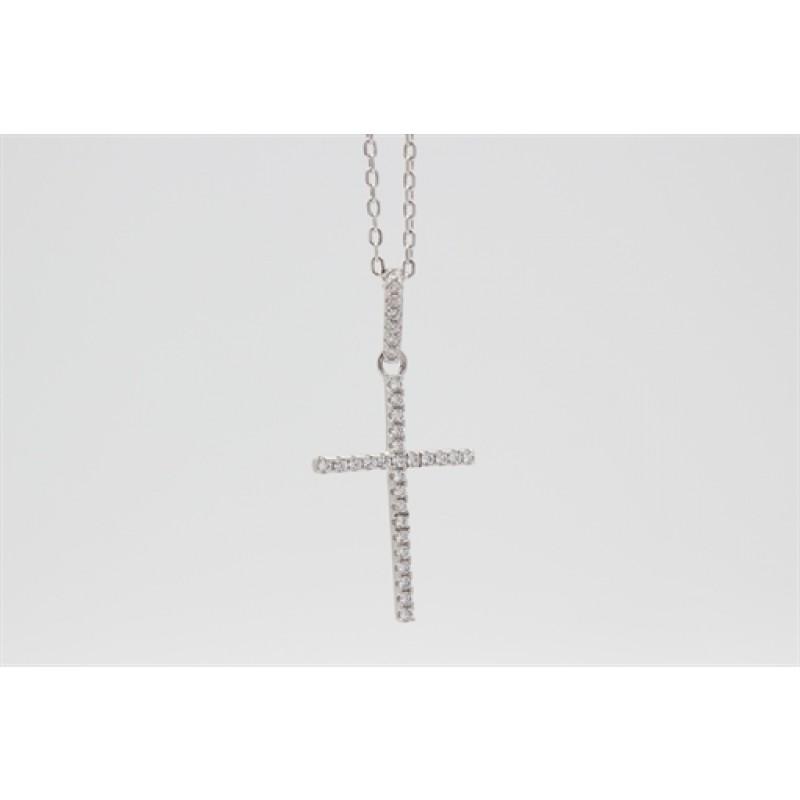Sølv halskæde med kors og zirk.