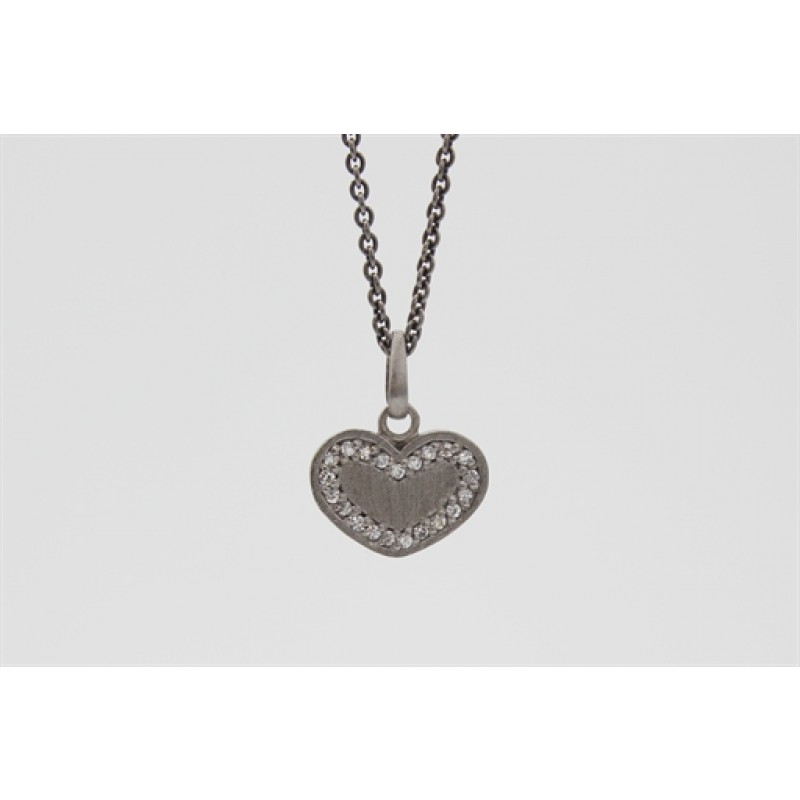 Sort rhodineret halskæde med hjerte og zirk.