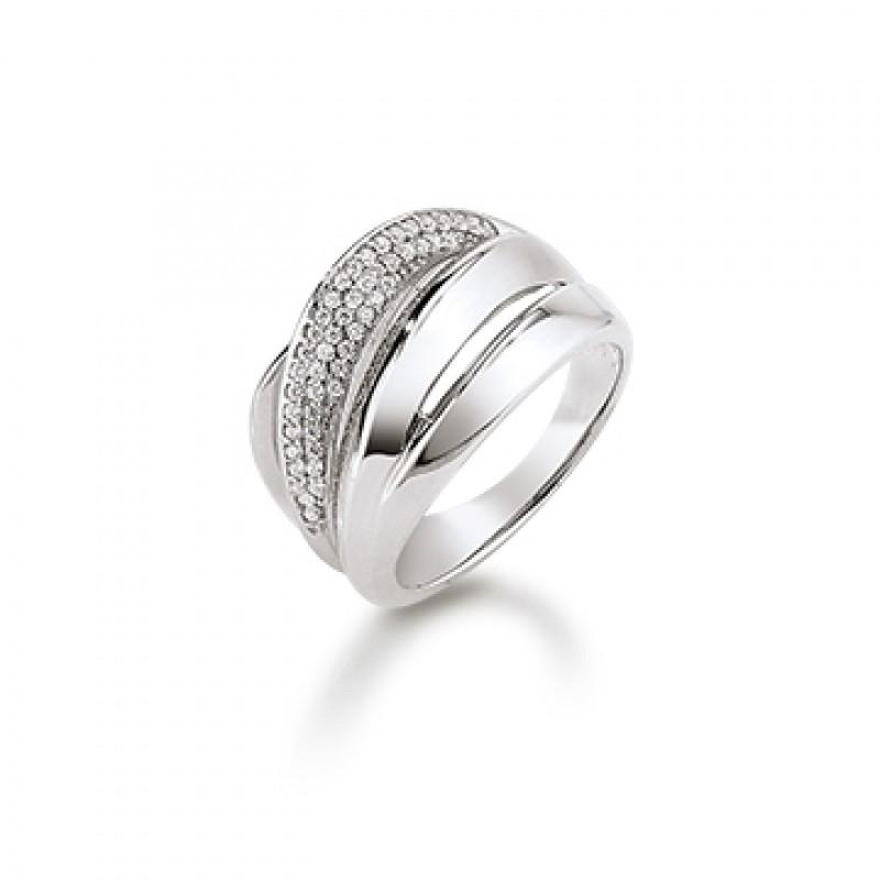 KRANZ & ZIEGLER sølv ring, unik, med zirk.