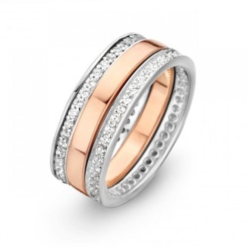 Campaign ring i sølv og rosa, zirk.