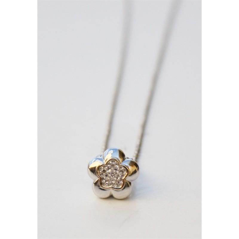 KRANZ & ZIEGLER hvid gulds halskæde med blomst og brillanter