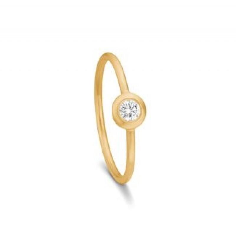 SARA 14 kt Guld ring m. 0,12 ct diamant