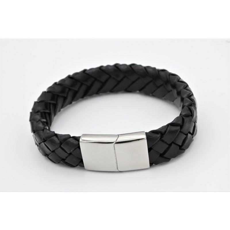 Bredt læder armbånd