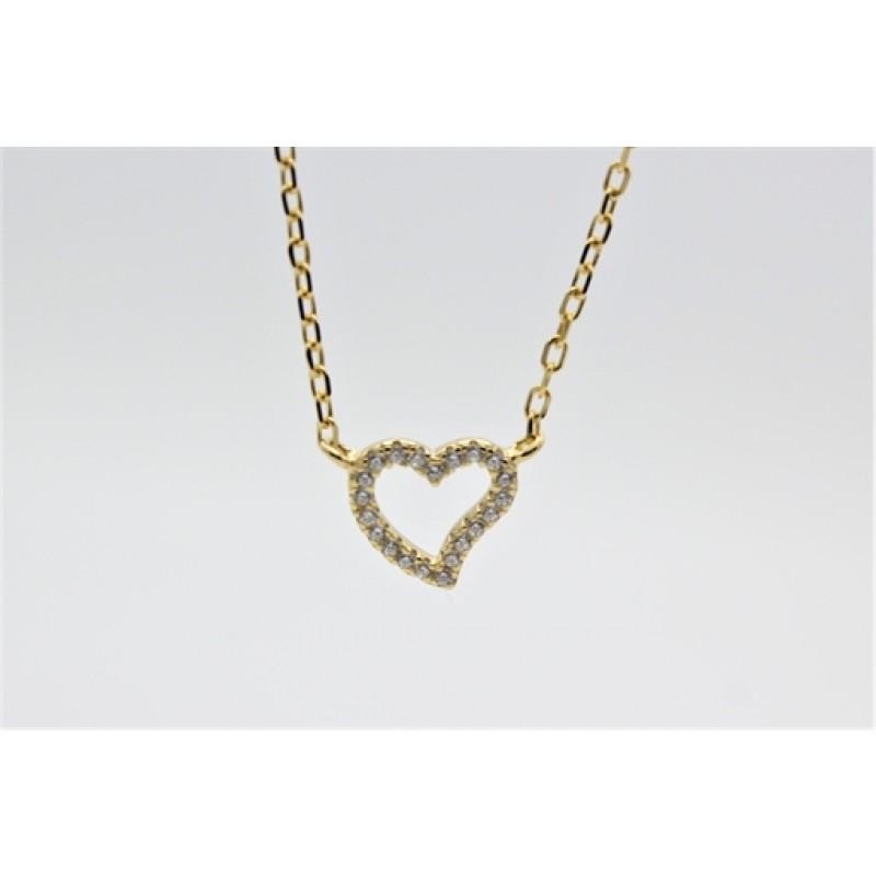 Valentine halskæde, forgyldt, buet
