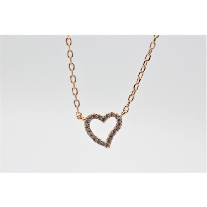 Valentine halskæde, rosa, buet