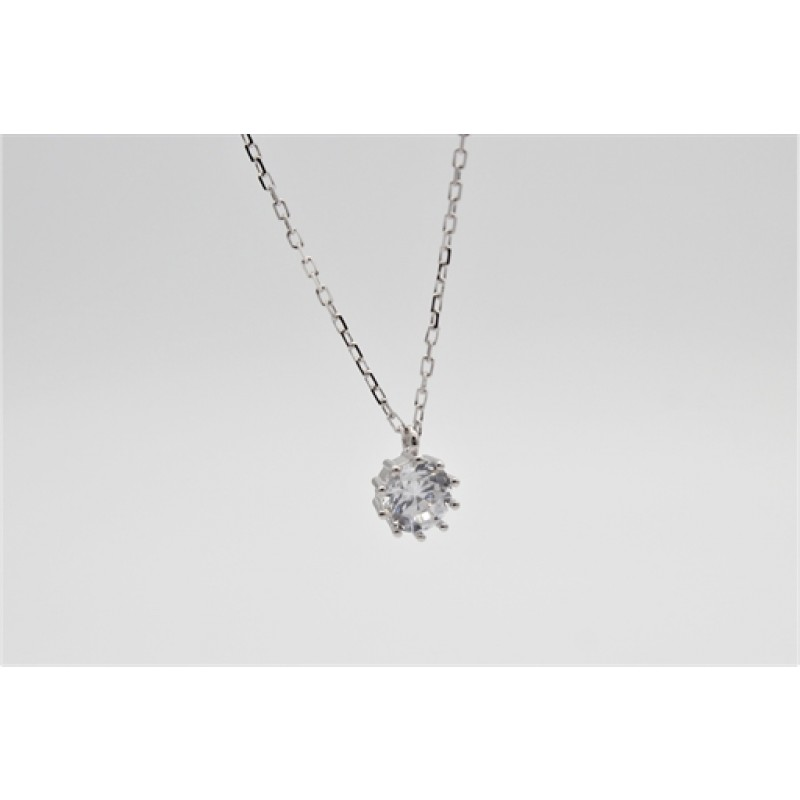 Zirkonia halskæde, sølv