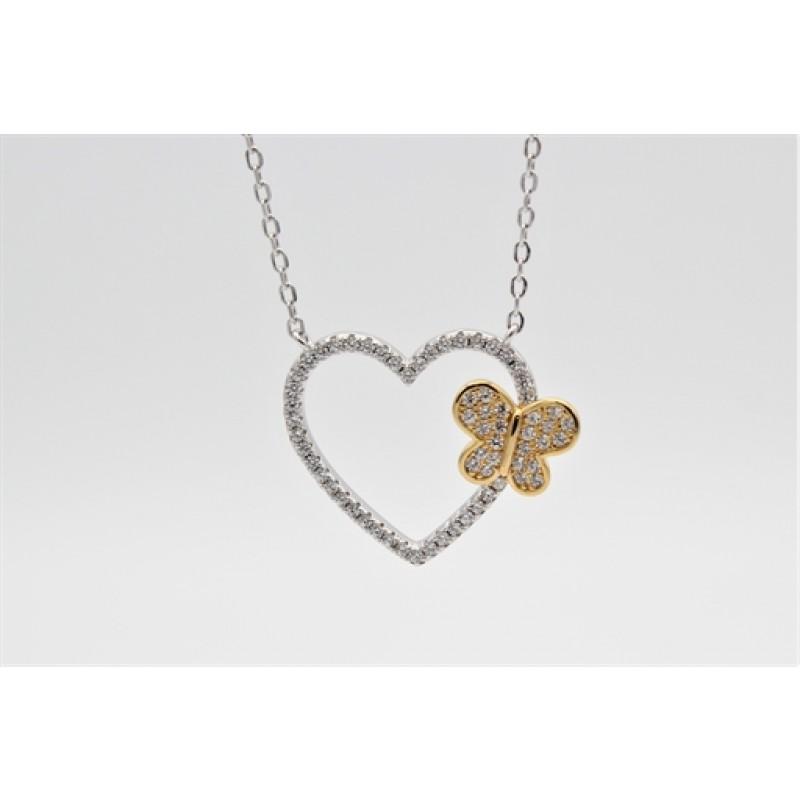 Valentine halskæde, forgyldt sommerfugl