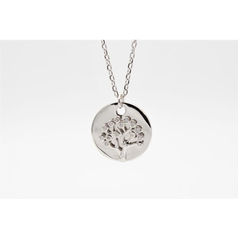 Livets træ halskæde, sølv m. plade