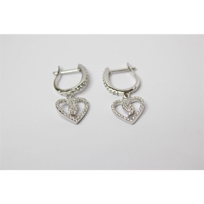 Sølv ørehængere/creoler med hjerte