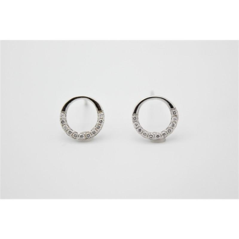 Cirkel ørestikker, sølv m. zirk.