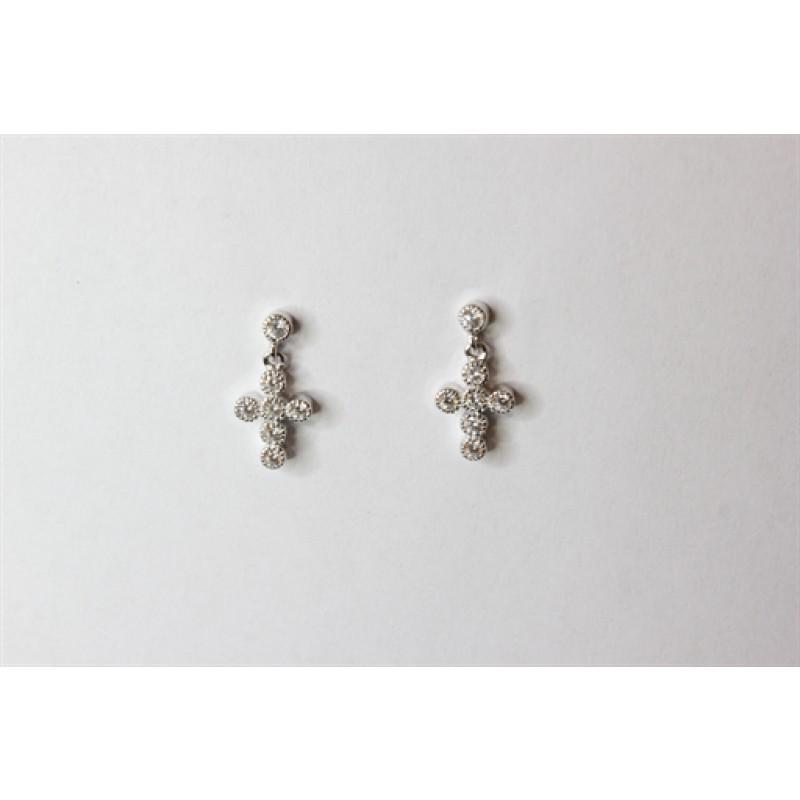 Kors ørehængere i sølv med zirk.