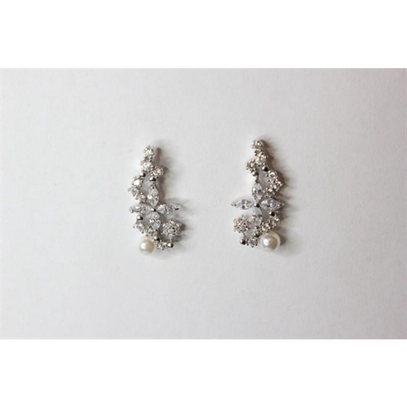 Perle ørestikker med zirkoner