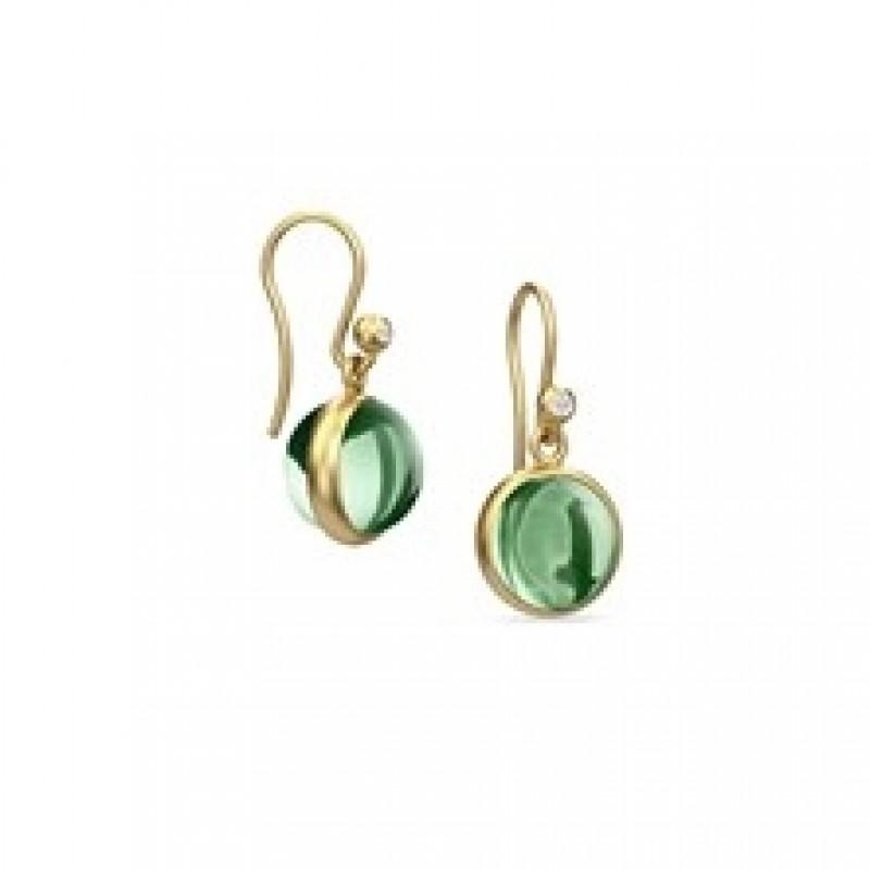 PRIME ørehængere med grøn krystal