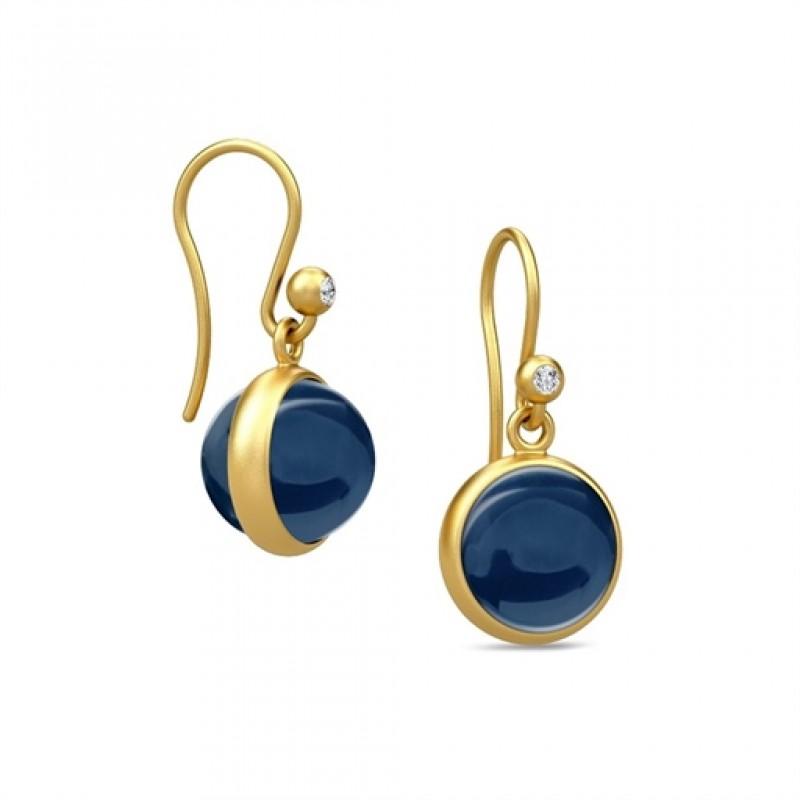 PRIME ørehængere med safirblå krystal