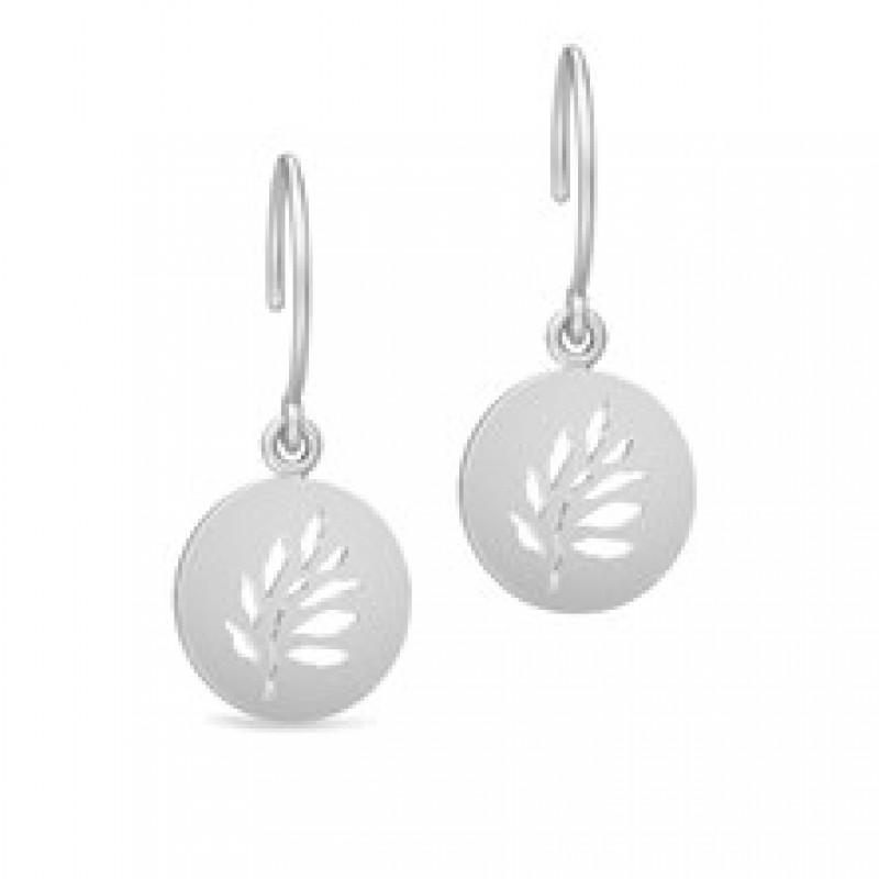 TREE OF LIFE Øresmykker med udskåret blad sølvrhodineret