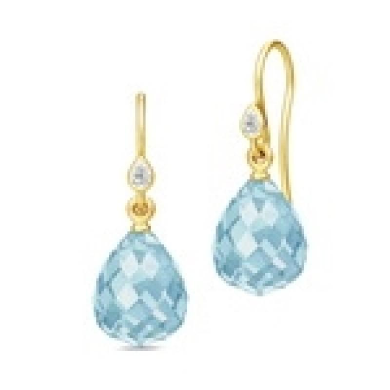 EVENING DEW ørehængere med blå krystal
