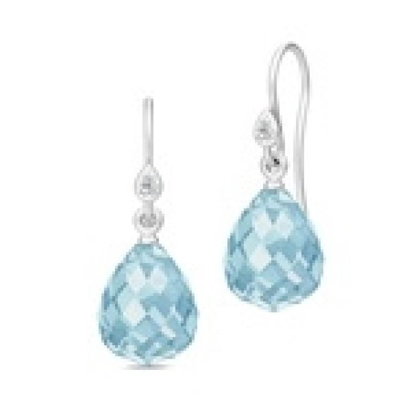 EVENING DEW sølv ørehængere med blå krystal