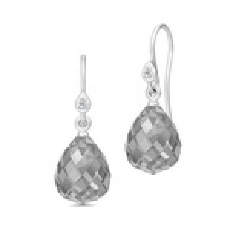 EVENING DEW sølv ørehængere med grå krystal