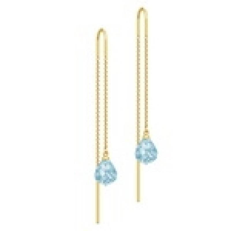 EVENING DEW ørehængere kæde med blå krystal