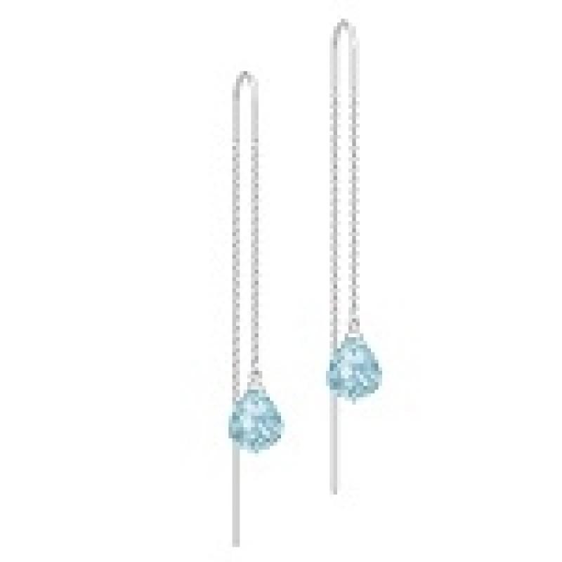 EVENING DEW sølv ørehængere kæde med blå krystal