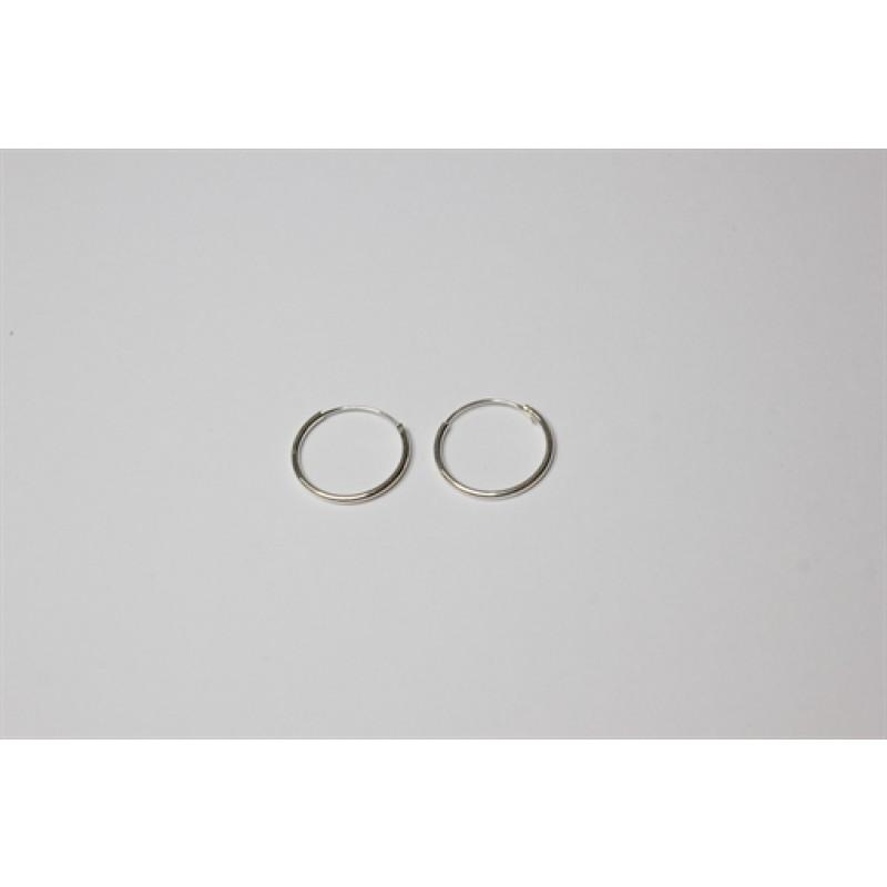 Sølv creoler tynde, 16 mm