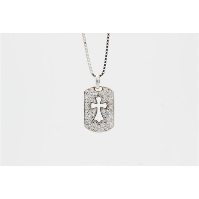 Sølv halskæde med paveret vedhæng, kors