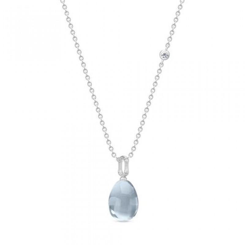 BAMBOO Sølv Wisdom Halskæde Aqua Blue
