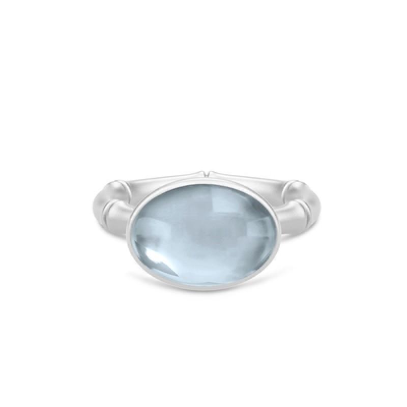 BAMBOO Sølv Wisdom Ring Aqua Blue