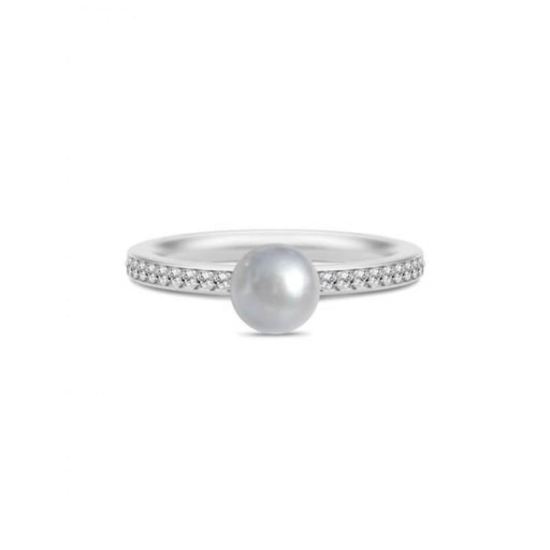 Ocean Sølv Perle Ring Grå