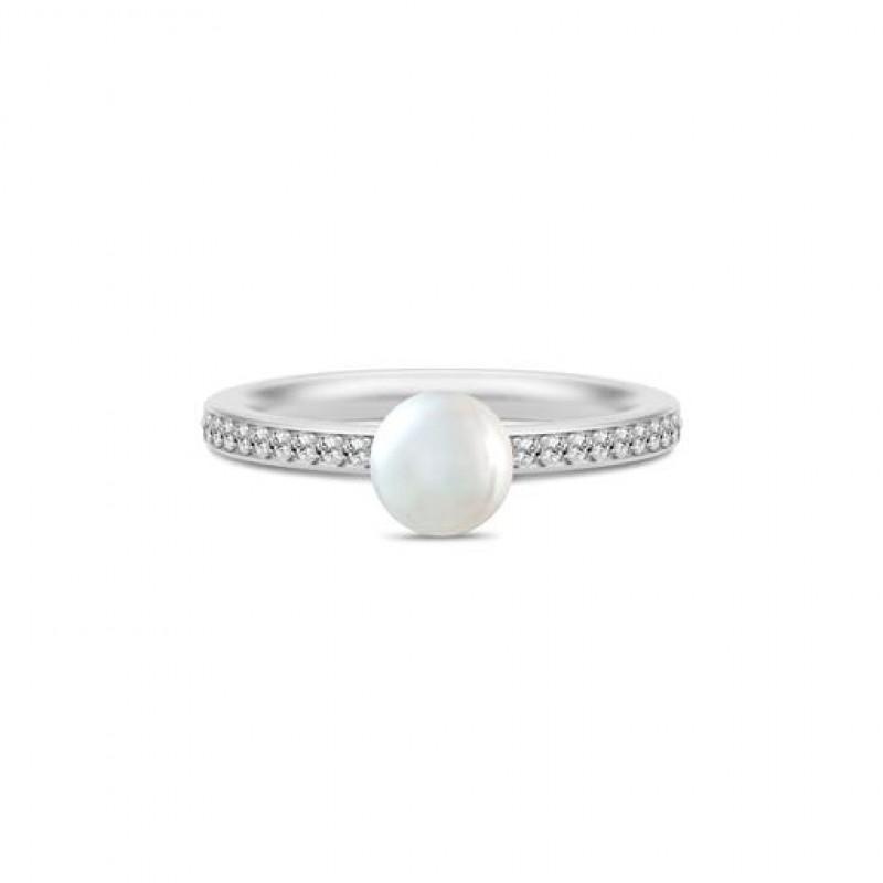 Ocean Sølv Perle Ring Hvid