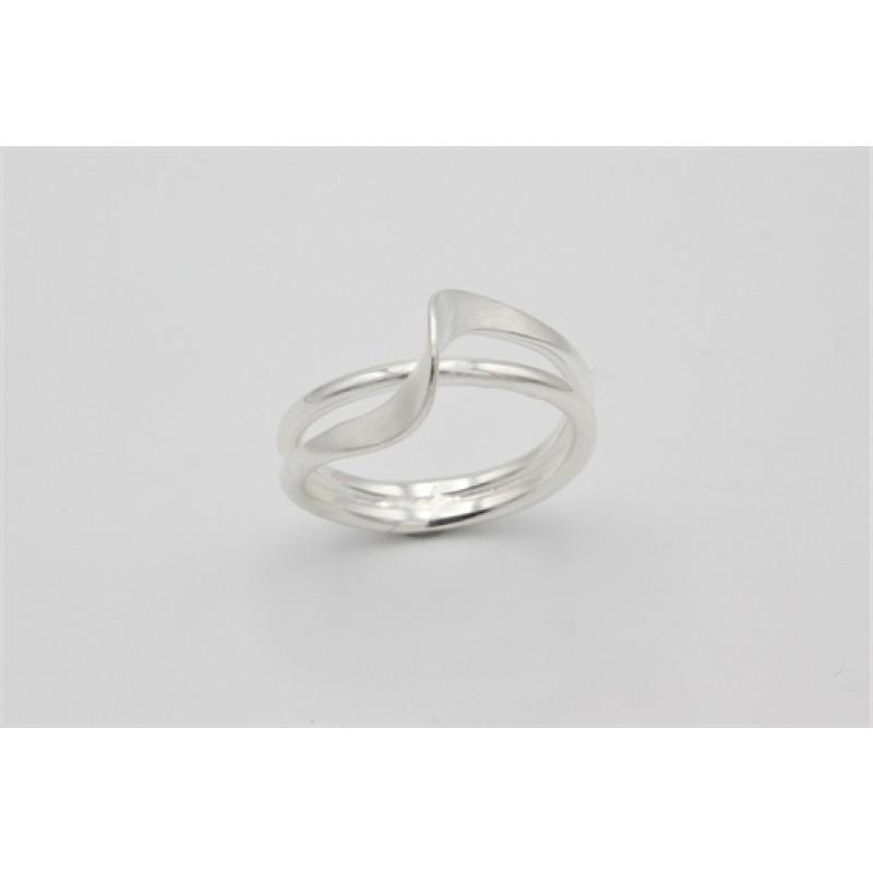 Waves sølv ring matteret