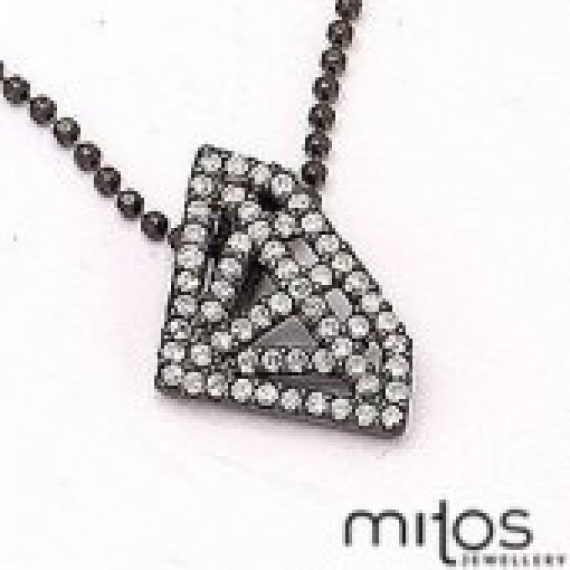 sort rhodineret halskæde med diamant form