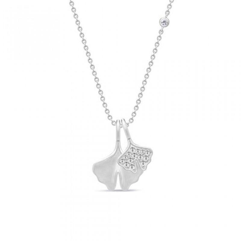 GINKGO sølv halskæde m. 2 vedhæng