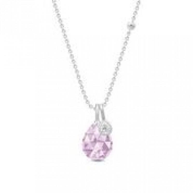 BALLERINA halskæde lavender krystal sølv